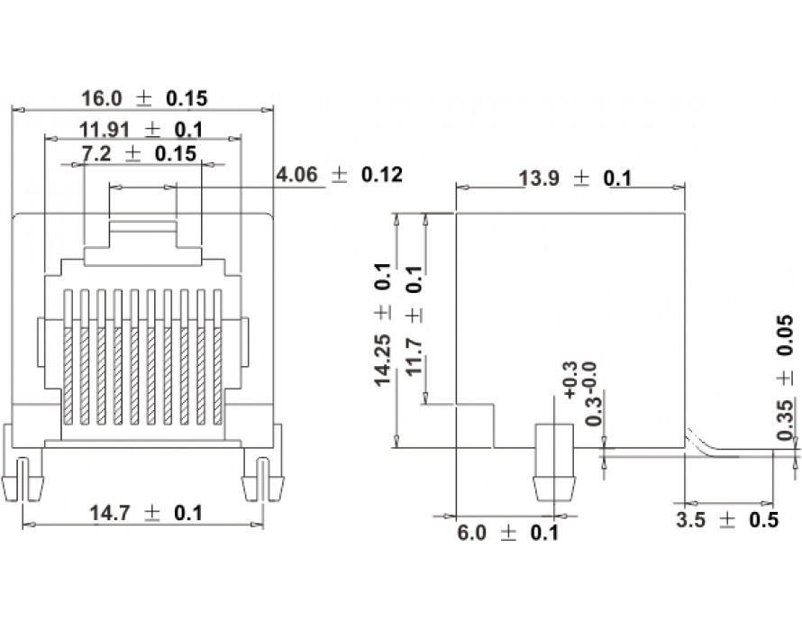 Modular Jack 010-8P/10P SMT Side entry type