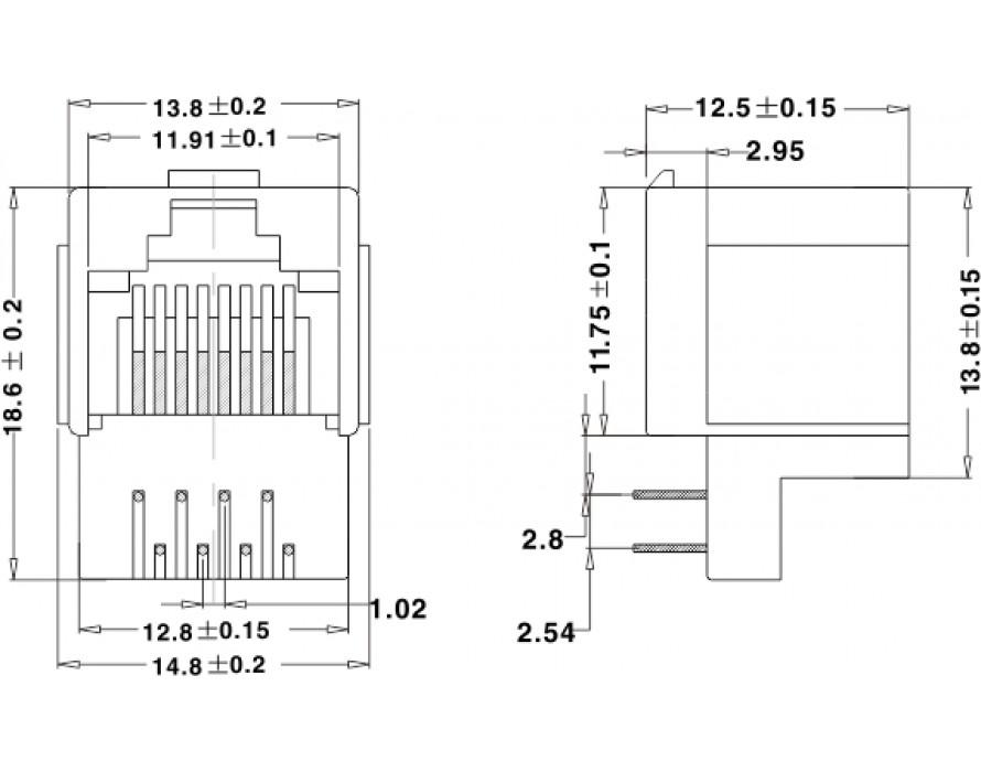 Modular Jack 064M-8P Bottom entry type