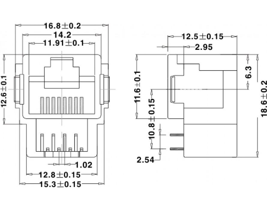 Modular Jack 064-8P Bottom entry type