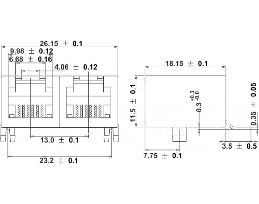 Modular Jack 037-6P-2 Ports RJ11 SMT Side entry type