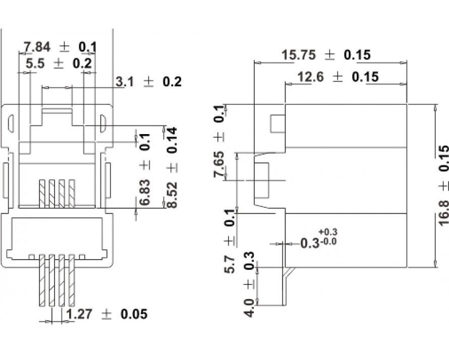 Modular Jack 044-4P SMT Bottom entry type