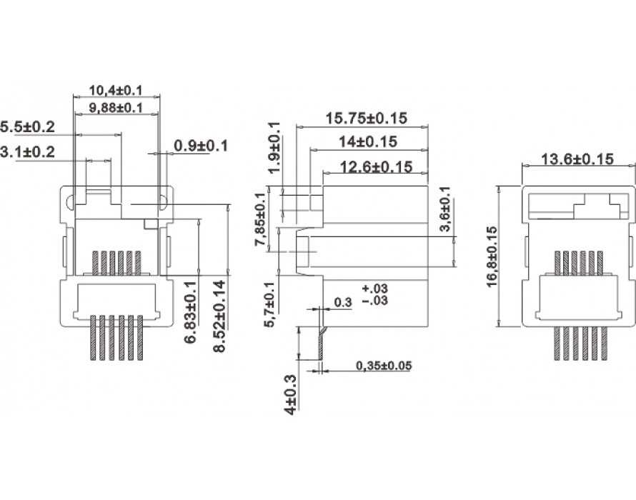 Modular Jack 044-6P SMT Bottom entry type