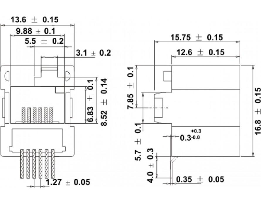 Modular Jack 044-6P right DEC SMT Bottom entry type