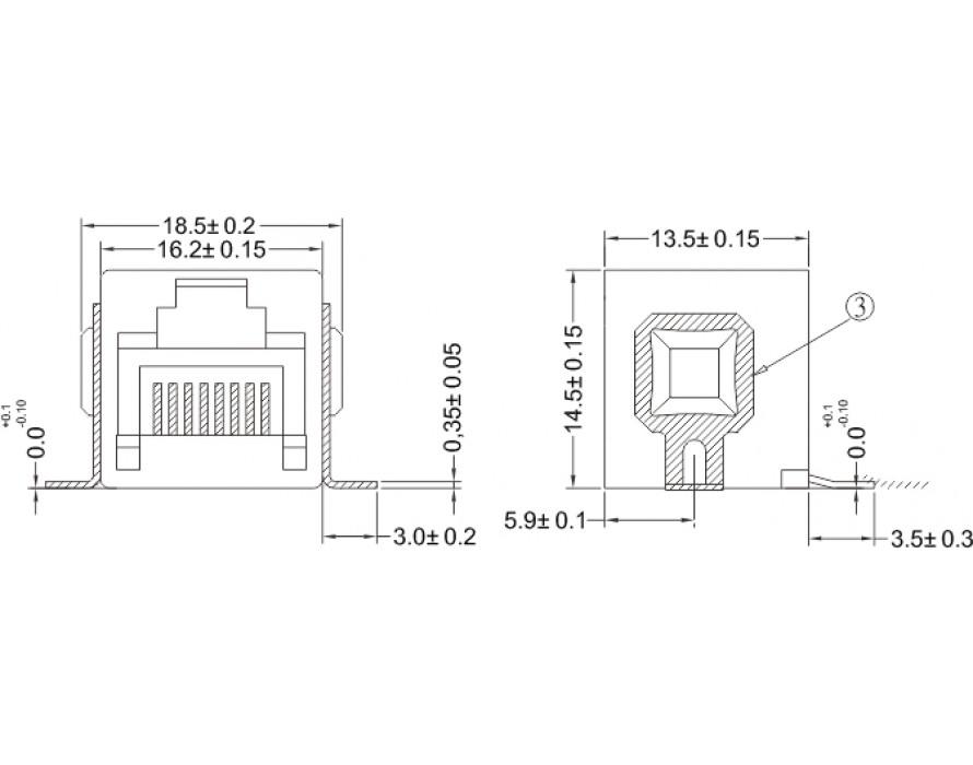 Modular Jack 052-8P SMT Side entry