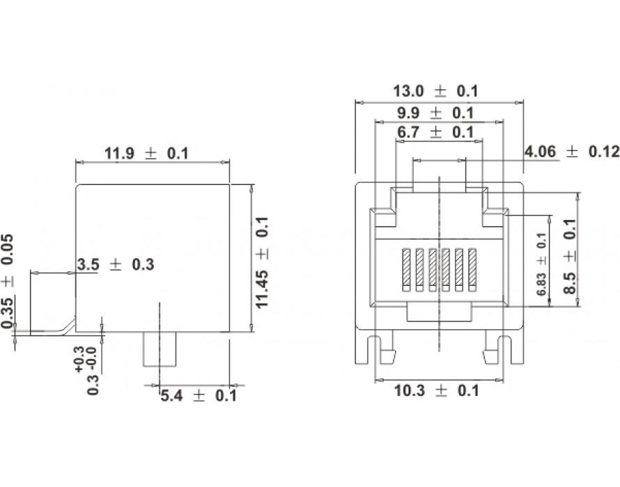 Modular Jack 051-6P RJ11 SMT Side entry type