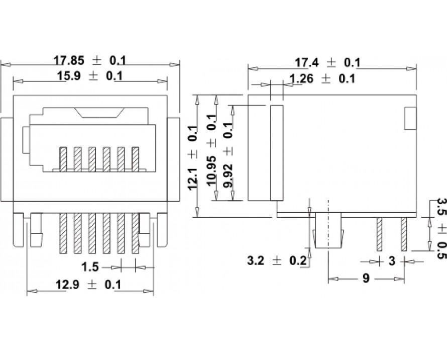 Modular Jack 030-6P Side entry UK type