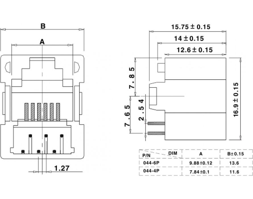 Modular Jack 044-6P/4P Bottom entry