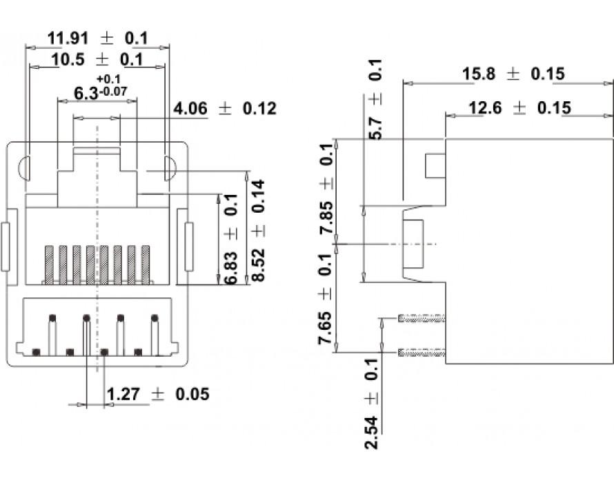 Modular Jack 044-8P Bottom entry