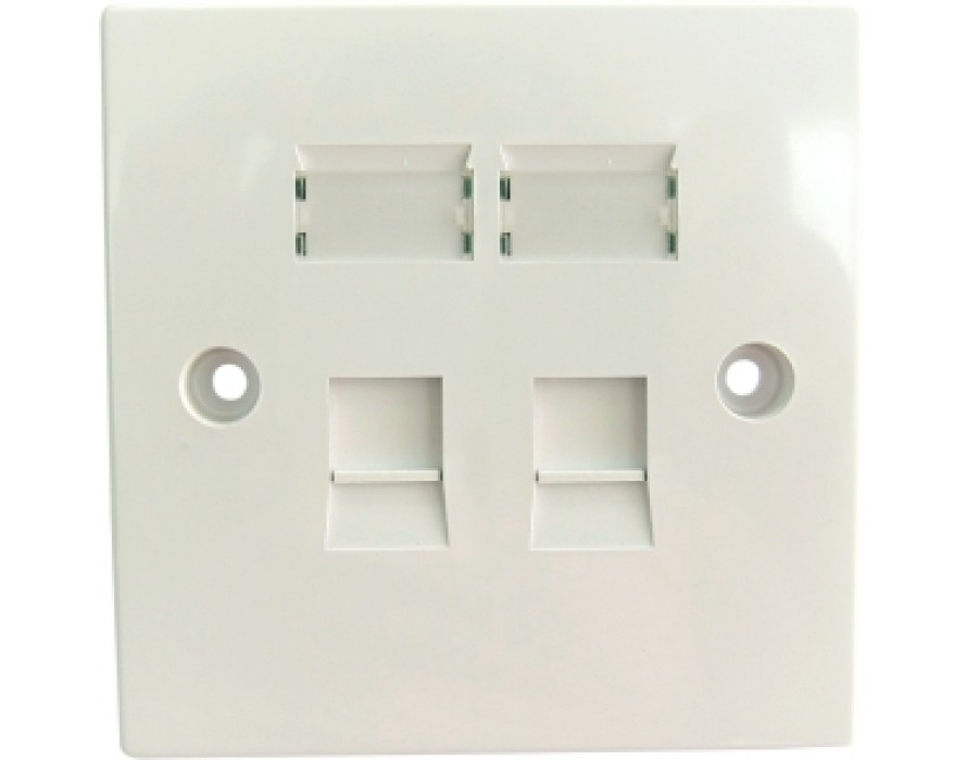86X86 CAT6 2 Port Wall Plate